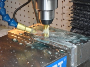 The next process is milling the taper into the blade.