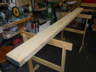 """An 8/4, 7.4bf clear, straight grain Ash board, the start of the 1"""" dogs. I have never had a nicer piece of wood in my shop before and I have to rip it up for dogs. Yes, I am stressed, my job is to get the best yield I can, and learn how to really use the band saw for the first time."""